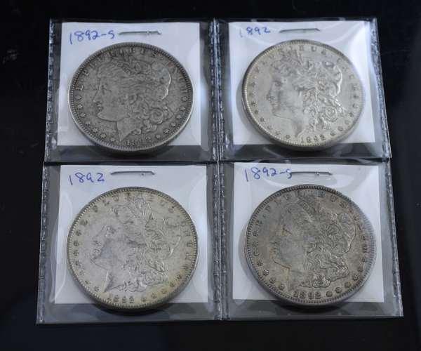(2) 1892 + (2) 1892-S Morgan silver dollars