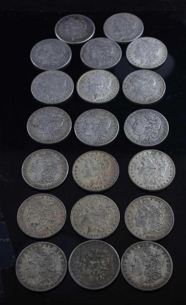 20 assorted Morgan dollars
