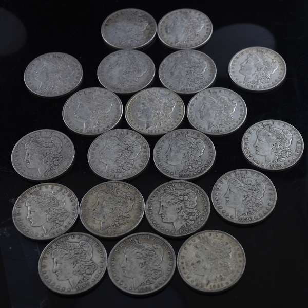 20 assorted Morgan silver dollars