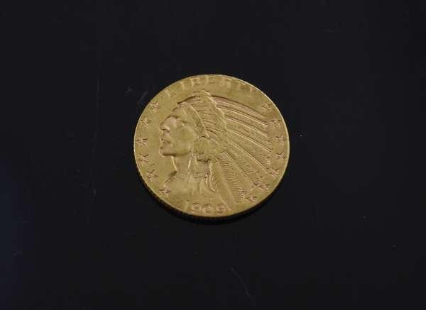 1909 five dollar gold coin