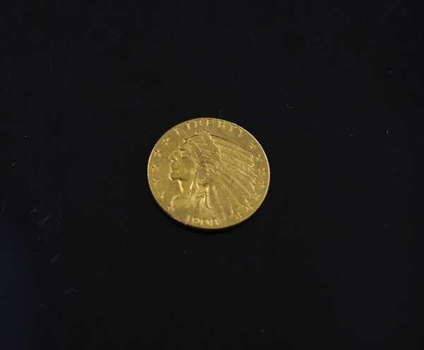 1908 $2.5 dollar gold coin
