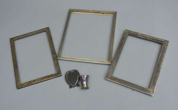 Three square sterling frames/heart/cap-sterling