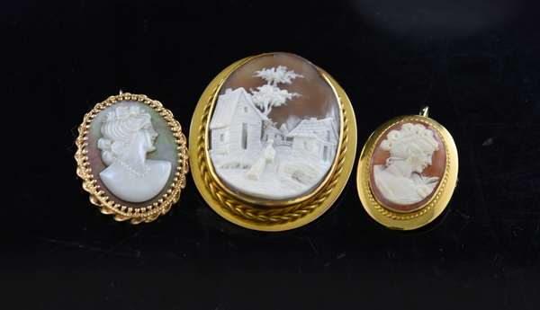 Lot of three gold cameo pins
