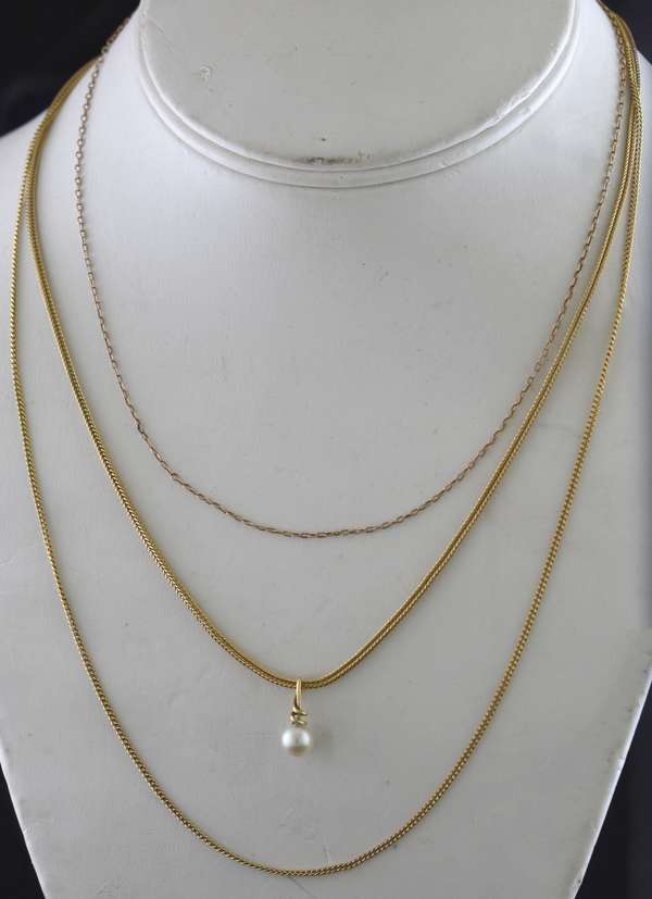 Three misc. yellow gold chains