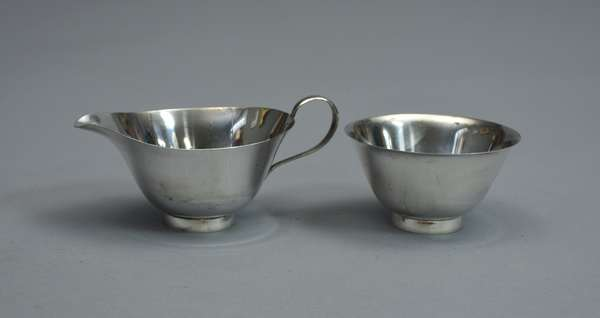 Mid-Century style Fisher sterling creamer and sugar, approx. 5.75 T.oz