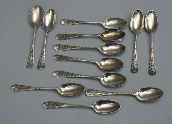 Set of twelve sterling demitasse spoons, approx. 4 T. oz