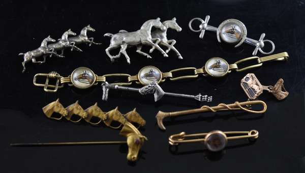 Ten horse pins and jewelry, some gold