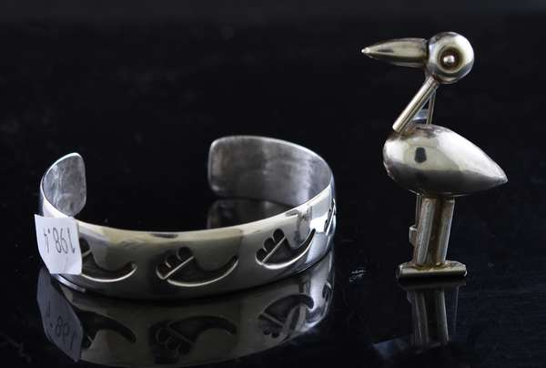 Sterling silver cuff bracelet along with s/s bird pin, stamped Mexico, two pieces