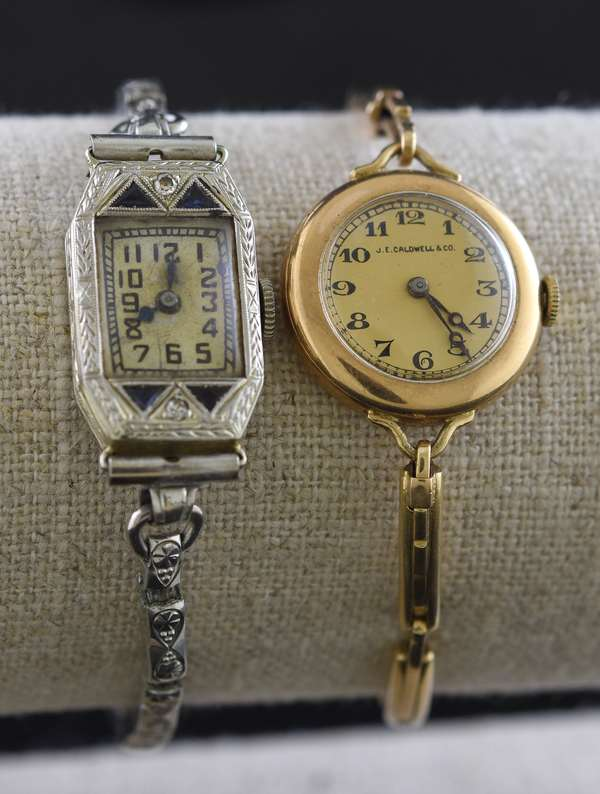 Two ladies wrist watches, 18k and 14k (bands not gold)