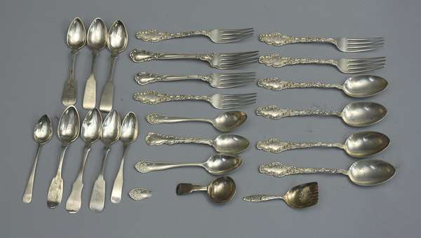 Lot of sterling flatware, twelve pieces, forks and spoons with eight pieces of coin silver flatware, approx. 20 T. oz