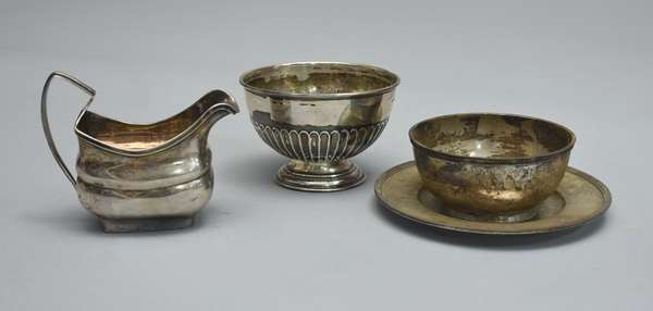 Silver creamer and two sugars and bowl, approx. 17.5 T. oz