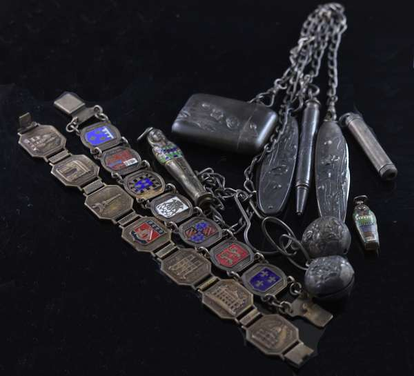 Two sterling bracelets and chatelaine