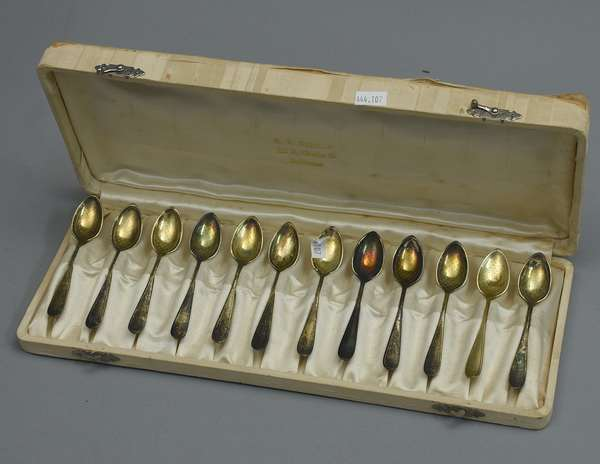Set of twelve sterling demitasse with box, approx. 4.25 T. oz