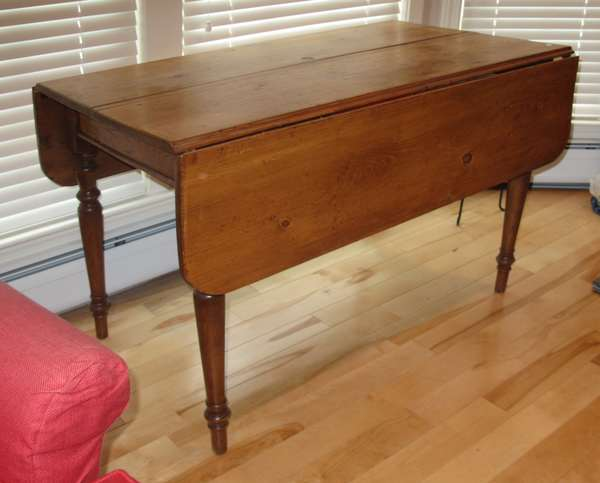 **The images below only represent a portion of the auction. We are adding images daily, please continue to check back.**  Country pine drop leaf table (17-1)