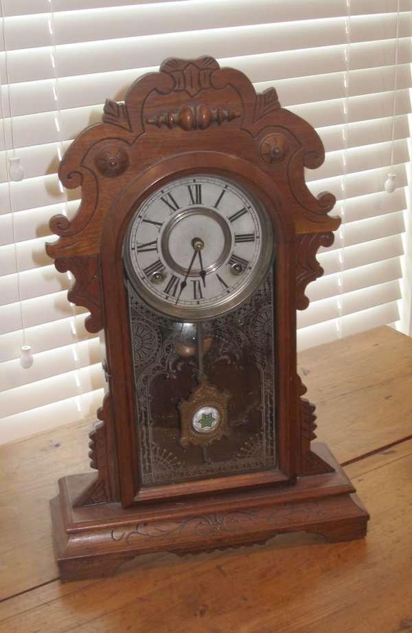 Victorian walnut gingerbread clock (17-2)