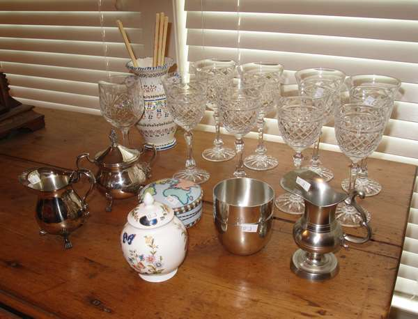 Small lot of tableware inc. stemware, pewter, silver plate (17-3)