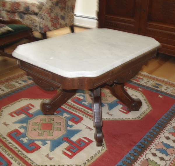 Victorian marble top coffee table (17-5)