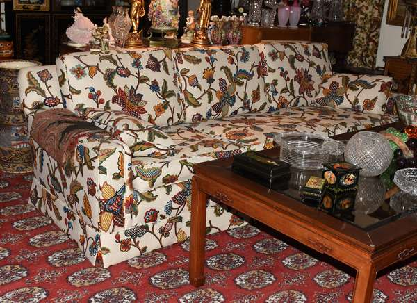 PAIR OF TWO SEAT SOFAS W CREWEL STYLE COVERING (900-184)