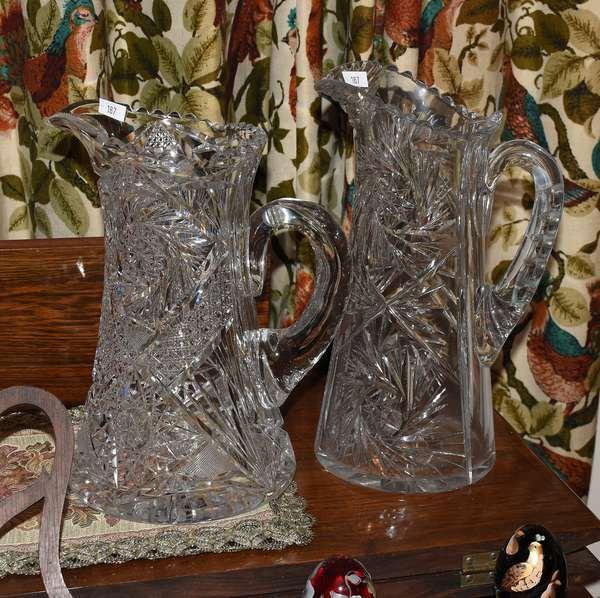 2 CUT GLASS PITCHERS (900-187)