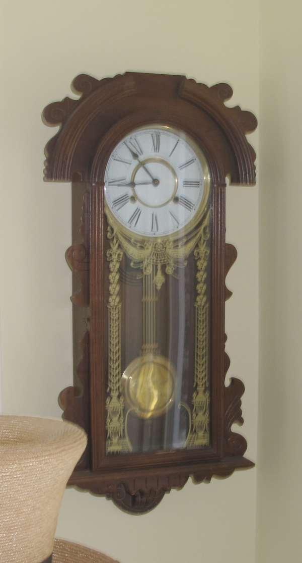 Walnut wall clock, Victorian style (17-9)
