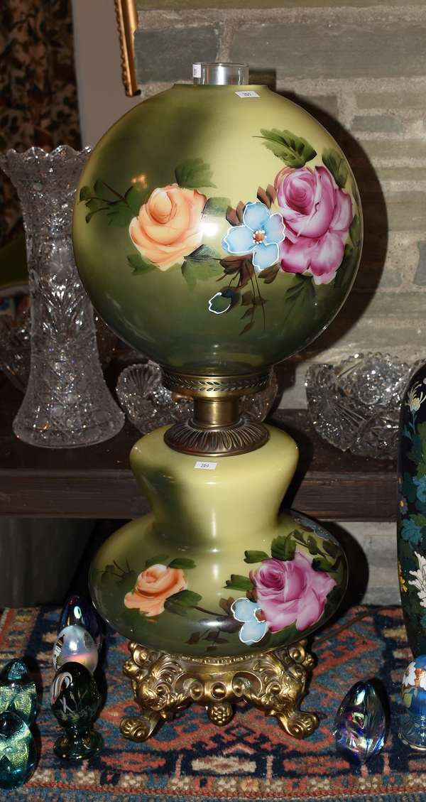 GWTW LAMP/GREEN W ROSES (900-209)