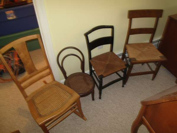 Two child's chairs and lady's rocker, other maple chair (17-16)