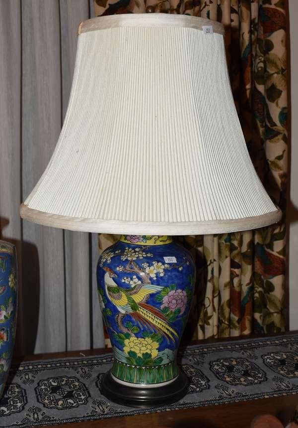 BLUE PRUNUS DECORATED JAR LAMP CONVERSION (900-253)