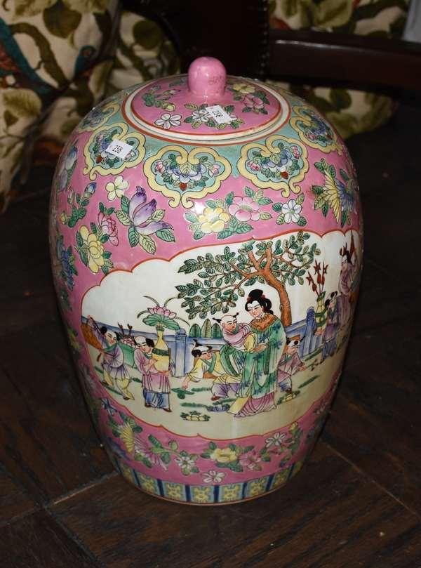ORIENTAL LG COVERED JAR W PINK GROUND (900-258)