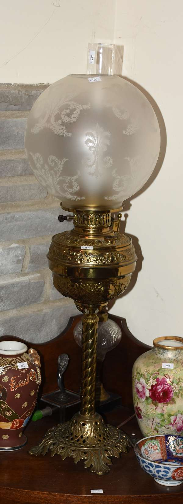 BRASS BASE BANQUET LAMP W ETCHED SHADE (900-259)