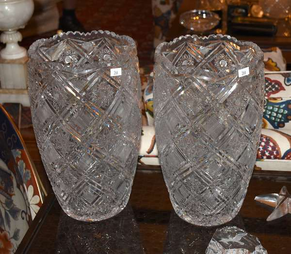 CONTEMPORARY CUT GLASS VASES PAIR (900-266)