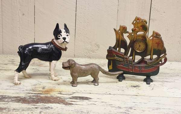 Bull dog doorstop, sailing ship doorstop/clock with dog nutcrackers