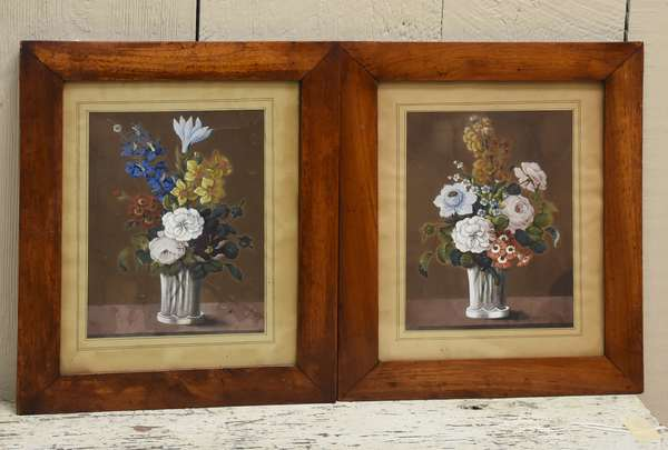 Two 19th C. watercolors, flowers in vases, period frames, 8