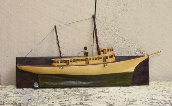 Antique paint decorated tug boat half model dated 1895, 14