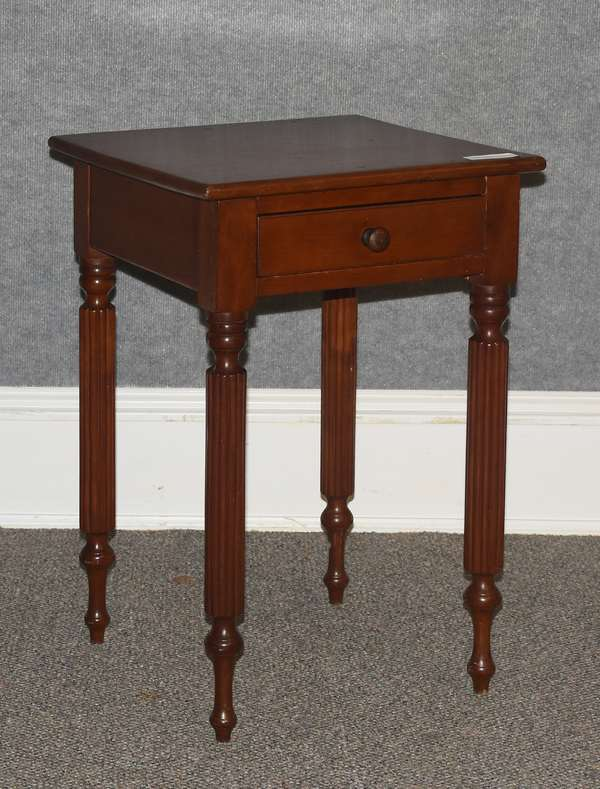 Federal cherry one drawer stand with reeded legs, ca.1820