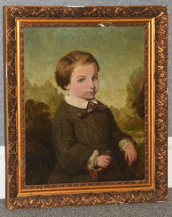 19th C. oil portrait of a young boy holding a horn, 25.5
