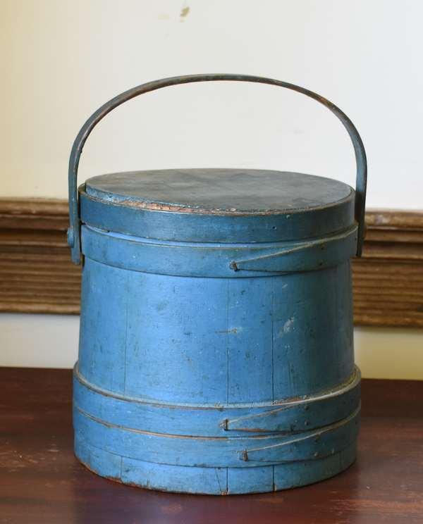 19th C. Blue painted firkin