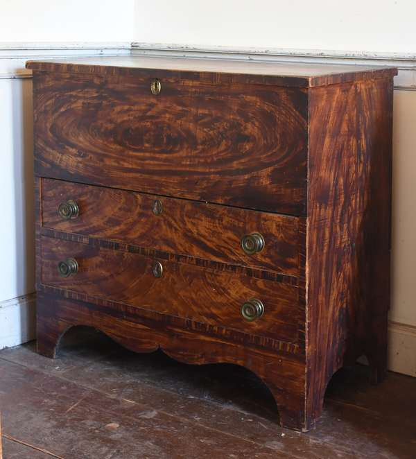 Early 19th C. Southern Vermont paint decorated two drawer blanket chest, from a VT. family