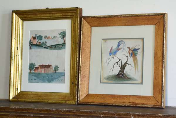 Two 19th C. watercolors, primitive of houses and boats, double sided with one of exotic birds, 7