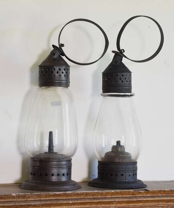 Two early pierced tin and glass lanterns, 13