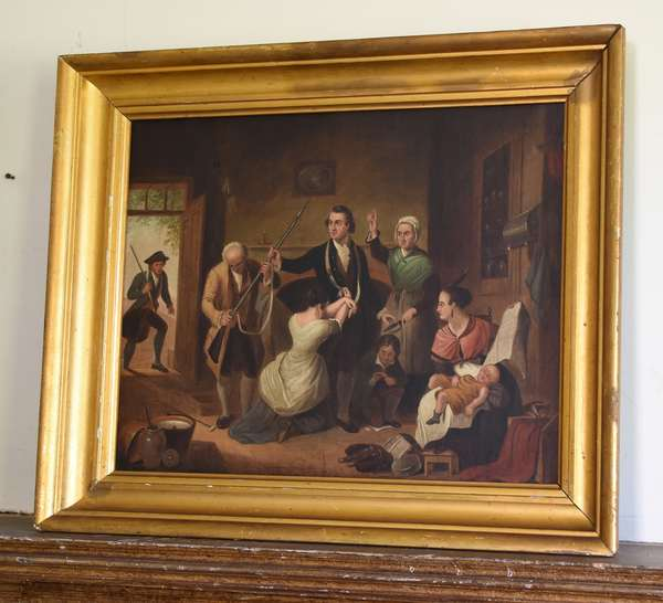 19th C. oil painting, Revolutionary War scene, 15.5