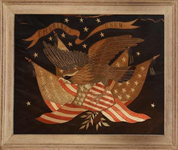 Late 19th C. patriotic needlework eagle/flag E. Pluribus Unum, 24