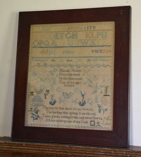 Needlework sampler, 1824 Hannah Holmes done in her 13th year, 19