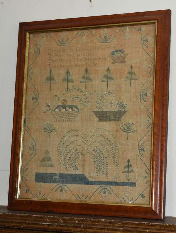 19th C. needlework sampler, willow tree, theorem baskets, 22