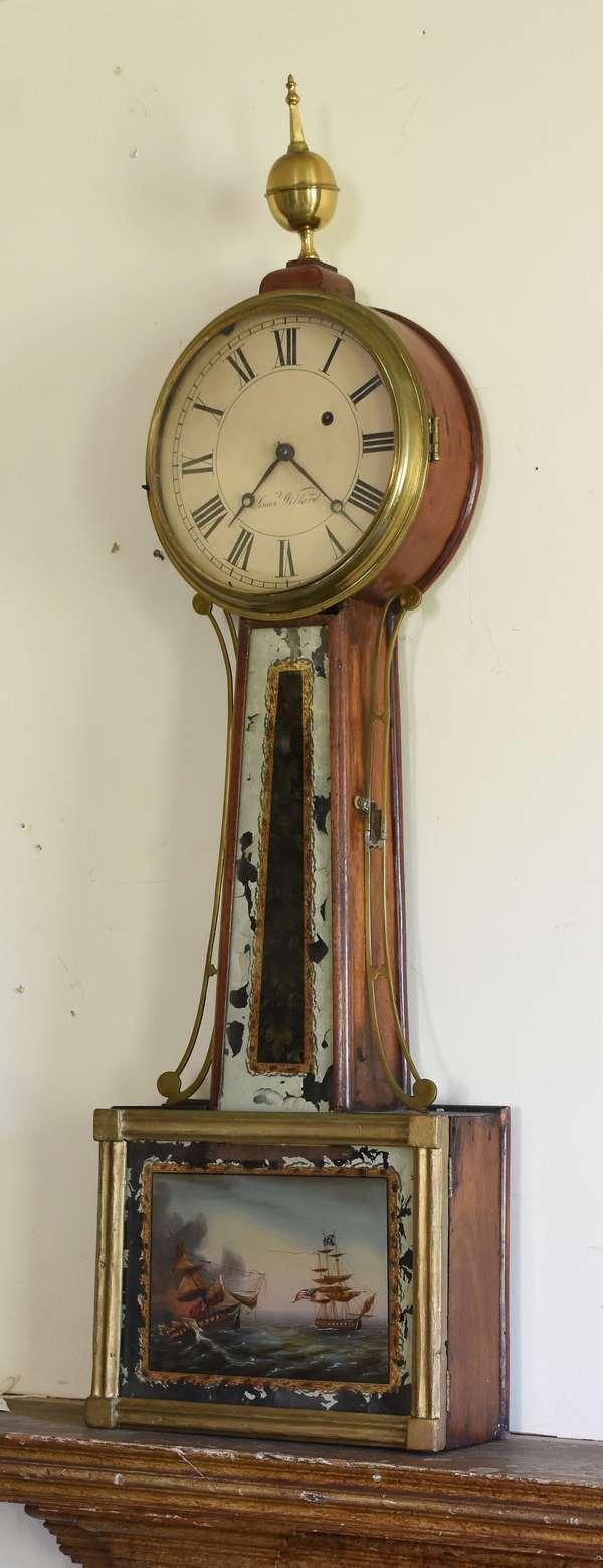 Early 19th C. weight driven banjo clock, battleships tablet, dial signed Simon Willard, 34