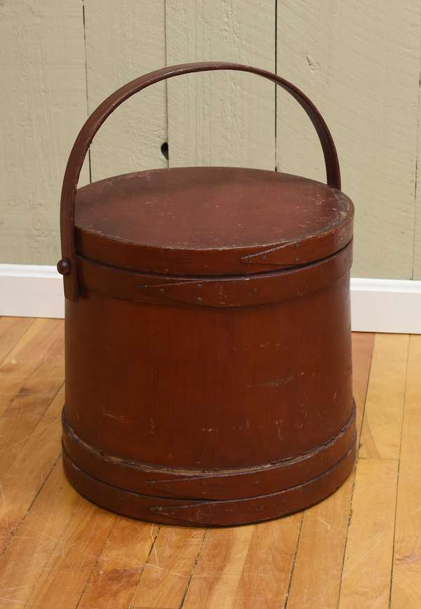 Large 19th C. red painted swing handle firkin, 14
