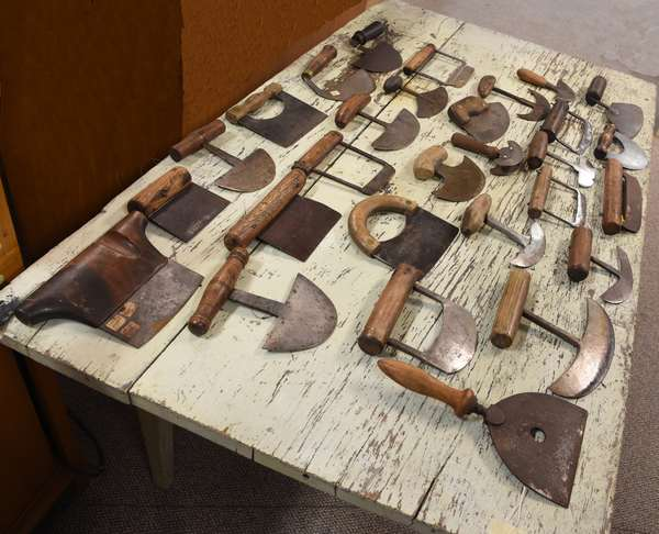 Collection of 30 antique iron choppers
