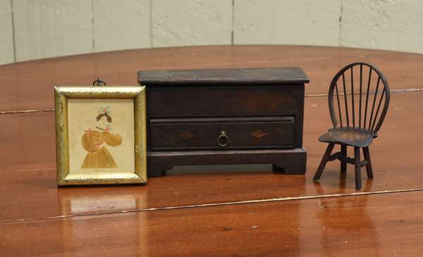 19th C. miniature one drawer blanket chest with a miniature Windsor chair 5