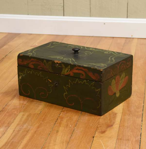 Naively painted 19th C. lift top document box, red & white on old green, 12