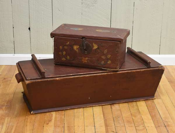19th C. dough box in old red paint 35