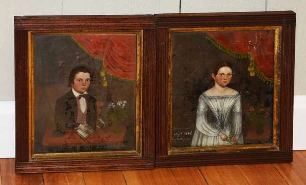 Pair of 19th C. oil paintings under glass, boy and girl dated 1846, 8